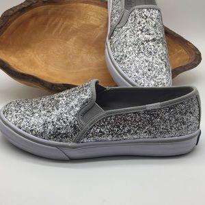 Keds Double Decker Silver Glitter Slip On Sz 6.5